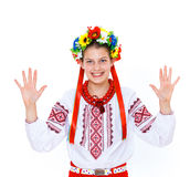 Girl wears Ukrainian national dress Stock Photos