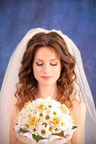 Girl with  wedding bouquet Stock Photos