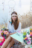 Girl with a wedding bouquet boho style Royalty Free Stock Image