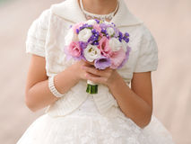 Girl with Wedding Bouquet Stock Images