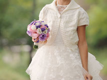 Girl with Wedding Bouquet Royalty Free Stock Photography