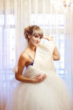 Girl with wedding dress Royalty Free Stock Photography