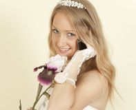 Girl in a wedding dress on  cell phone call Royalty Free Stock Photography