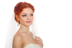 Girl in a wedding dress looking away Stock Photography