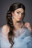 The girl with the wedding hair and makeup Royalty Free Stock Photography