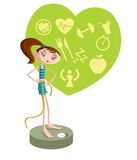 Girl on weighing machine Royalty Free Stock Image
