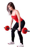 Girl weight lifter royalty free stock images