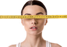 Girl and weight loss Stock Photos