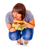 Girl weight loss on scales Stock Photos