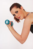 Girl weight training Stock Photo
