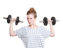 Girl with weights Stock Photos