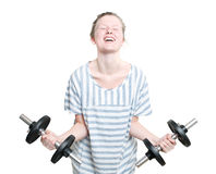 Girl with weights Stock Photography