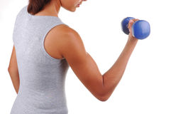 Girl with Weights Royalty Free Stock Photography