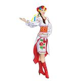 Girl welcome hand ukrainian costume clothes Royalty Free Stock Photo