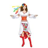 Girl welcome hand ukrainian costume clothes Stock Images