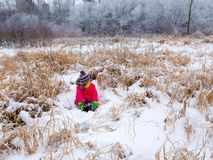 A girl in a red jacket sits on the snow among the bushes Stock Photo