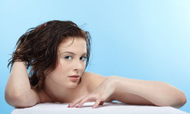 Girl with wet hair Stock Images