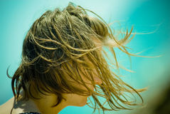 Girl with wet hair at beach Royalty Free Stock Photos