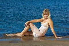 Girl in wet peignoir Royalty Free Stock Photo