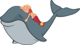 The girl and whale Stock Photo