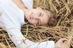 Girl in the wheat Stock Photos