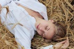 Girl in the wheat Stock Photo