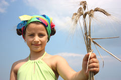 A girl with wheat Royalty Free Stock Image