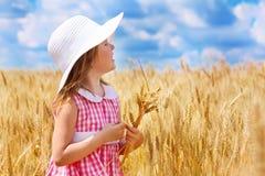 Girl in wheat Stock Photos
