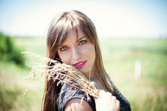 Girl in wheat Royalty Free Stock Images