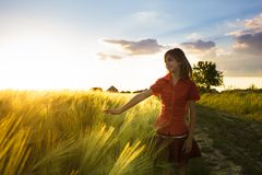 Girl on wheat fieald Royalty Free Stock Image