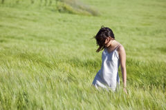 Girl in wheat fiel Stock Photo