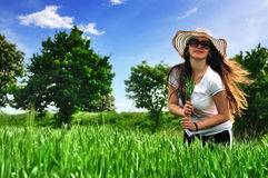 Girl in a wheat field Royalty Free Stock Photography