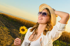Girl on a wheat field Stock Photo