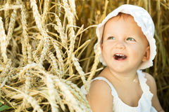 Girl in a wheat field Royalty Free Stock Photo