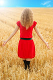 Girl in wheat field in red dress Royalty Free Stock Photo