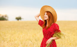 Girl at wheat field Royalty Free Stock Image