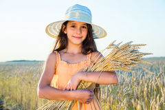 Girl on wheat field Stock Images