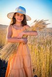 Girl on wheat field Stock Photos