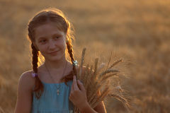 Girl on a wheat field Stock Images