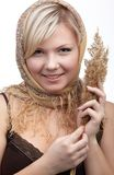 Girl with wheat spike Royalty Free Stock Photos