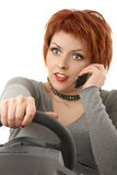 The girl at the wheel Royalty Free Stock Photography