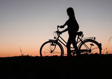 Girl, Wheel, Sunset, Romance, Love Royalty Free Stock Photography