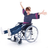 Girl on wheelchair Stock Photos