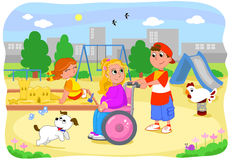 Girl on wheelchair with friends Stock Images