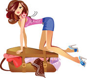 Girl which closes the suitcase. Vector illustration of a girl which closes the suitcase Stock Photos