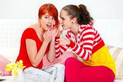Girl whispering gossips her interested girlfriend. Girl whispering gossips in ear of her interested girlfriend and pointing finger in corner Royalty Free Stock Image