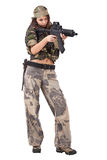 Girl whit gun Stock Images