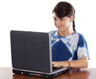 Girl whit laptop. A over white background Stock Photo