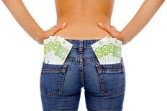 Girl whit money Stock Image