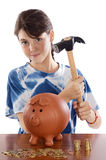 Girl whit money box Stock Photos